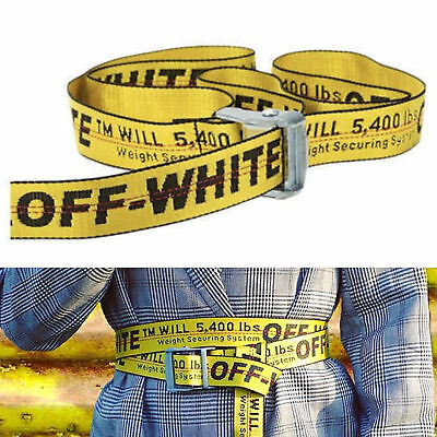 Off White Tie Down Nylon Cotton Big IRON Head Industrial Belt 200CM fast ship