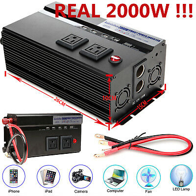 Car Caravan Pickup Truck Boat Camping Real Power 2000W/4000W Peak Power Inverter