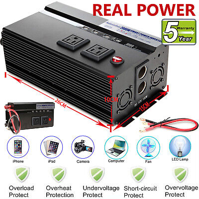 2000W Power Inverter Car Caravan Boat Camping Outdoor Converter DC12V to AC110V