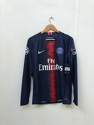 Nike Men's PSG FC 2018/19 CL LS Home Shirt - Medium - Cavani 9 - Navy - New