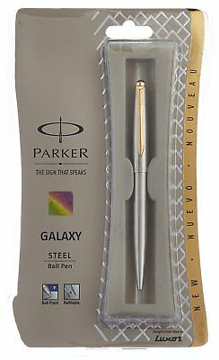 Parker Galaxy Steel GT Ball Point Pen Gold Trim New (Like Jotter Classic Vector)