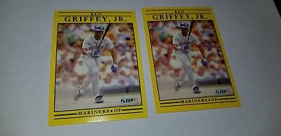 "1991 fleer baseball error ken griffey jr. #450 hof 2 card lot ""around .300"""