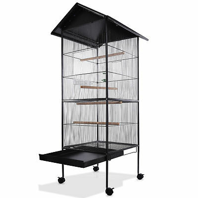 Large Bird Aviary Cage Metal Parrot Birds Budgie Birdcages Stable Steel Finch