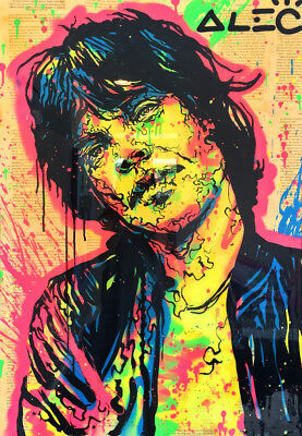 "Alec Monopoly Graffiti Handcraft Oil Painting on Canvas,""Mick Jagger"" 24*36inch"