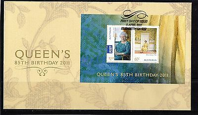 2011 Australia Queen's 85th Birthday Mini Sheet First Day Cover, Mint Condition