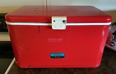 Vintage Thermos Brand Metal Cooler- Red- 1970s – Very Good Condition!
