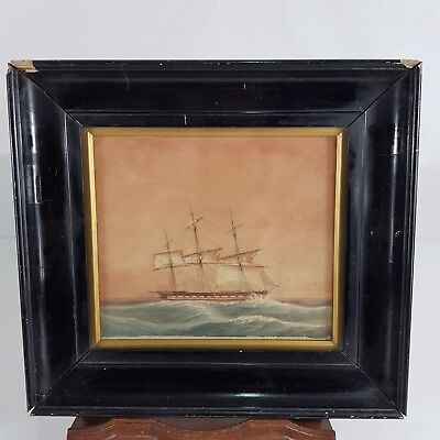 Antique 19th Century Watercolour Of A Ship At Sea In Ebonised Frame