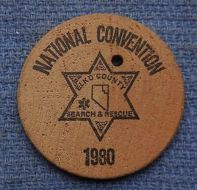 Wooden Nickel 1980 Elko County Search & Rescue National Convention Token