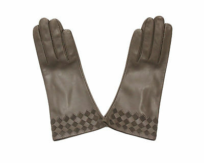 Sermoneta Gloves with a Woven Pattern (Brown Size 7 1/2)
