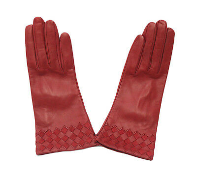 Sermoneta Gloves with a Woven Pattern (Red Size 7)