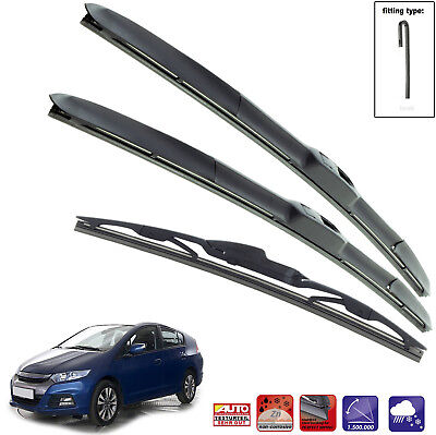"HONDA INSIGHT 2009-14 Set of 3 wiper blades HYBRID HOOK 26""16""16"""