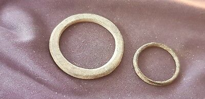 Superb lot of little & large Celtic money rings duo Please read description L74g