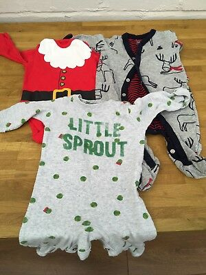 Christmas Baby Clothes 0-3 Months - 3 Items Mothercare, Gap, F&F - FREE POSTAGE