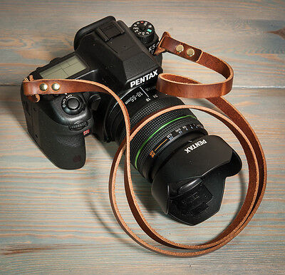 44 inch Chestnut Leather Camera Strap with Brass Rivets and Rings.