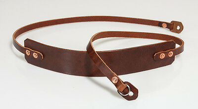 42 inch Hand made leather camera strap. Chestnut with copper rivets.