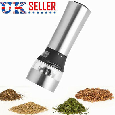 Silver Electric Salt Spice Pepper Mill Grinder Battery Operated Cooking 2 IN 1