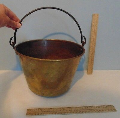 Brass Bucket - H W HAYDENS - Patent Dec 16 1851 - Brass Pail with Handle - As Is