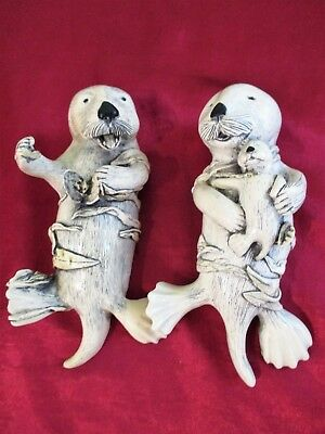 Cute Pair of Otters with Pup GH Cook Company Fine Art Sculptures 6""