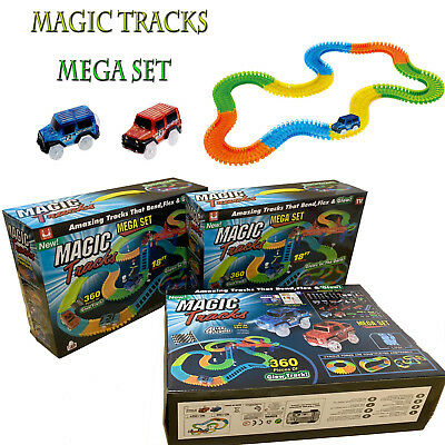 Magic Tracks Mega Set 18 ft 360 PCS Racetrack Toys 2 LED Cars