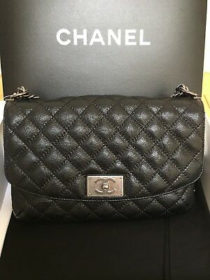 764f25558180 AUTH BNIB CHANEL Black Caviar Medium Coco Handle Drawstring Bucket ...