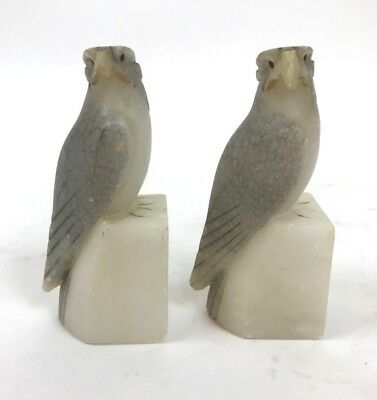 Vintage Carved Stone Birds Bookends White Gray Made in Italy Decor Collectible