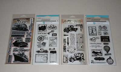 Lot of Vintage Travel Themed Clear & Cling Stamps - Tim Holtz, Hampton Art