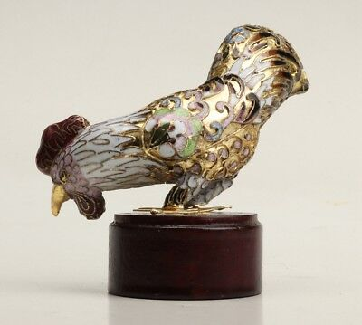 Vintage Chinese Enamel Cloisonne Statue Old Decorative Animal Cock Collection
