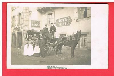 Cpa - Carte Photo - Marcigny -  71 -  Hotel Du Lion D'or - Diligence - Chevaux