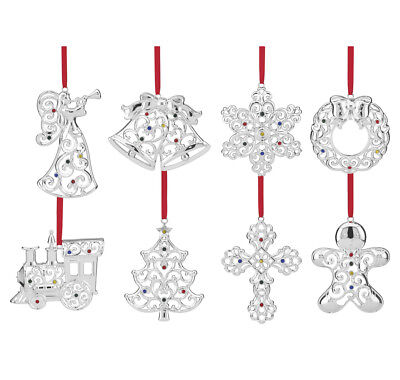 Lenox Sparkle & Scroll Crystal Silverplate Christmas Ornaments New Set of 8