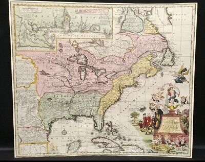 Antique 18th c. Hand Colored Matthaus Seutter Mississippi Bubble Map