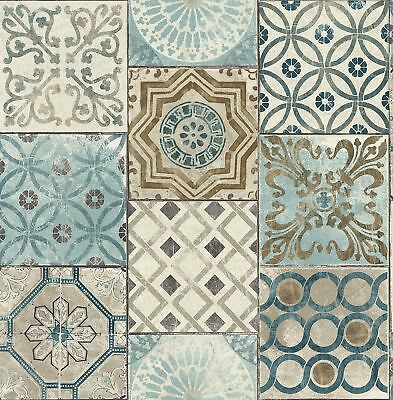 NextWall Moroccan Style Peel and Stick NW30002 Mosaic Tile Wallpaper,  Blue,