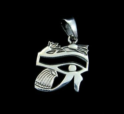 Handcrafted Solid 925 Sterling Silver EGYPTIAN EYE OF HORUS Wadjet/Udjat Pendant