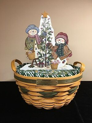 Longaberger Christmas Collection 1999 Popcorn Basket with Liner & Protector PLUS