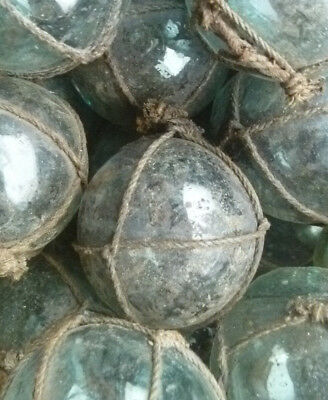 """Japanese Glass Fishing Floats 2"""" Lot-15 Dirty NETTED Rust Tar Industrial Grubby!"""