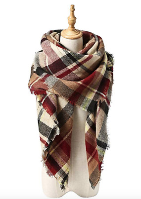 Women's Fall Winter Scarf Classic Tassel Plaid Scarf Warm Soft Chunky Blanket