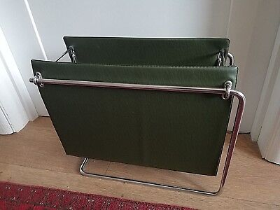 Vintage mid century magazine rack. Durlston Designs ltd. chrome & leatherette.
