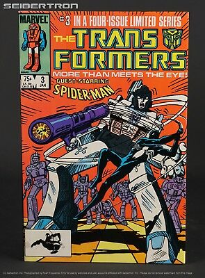 THE TRANSFORMERS #3 1984 Marvel Comics G1 1st Print 181101a SPIDER-MAN black