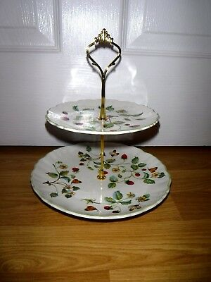 Vintage Old Foley James Kent 2 Tier Cake Plate Stand Wild Strawberry ~ Excellent