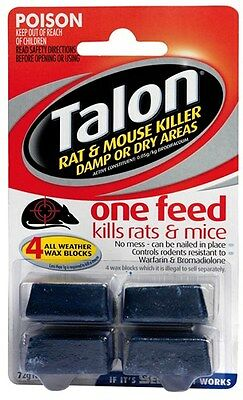 Selleys Talon 4 Wax Blocks Rat Mice Killer Bait 72g All Weather Single Feed