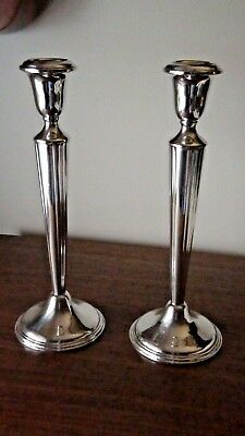 Pair of Vintage Empire Weighted Sterling Silver Candlesticks  Model 25