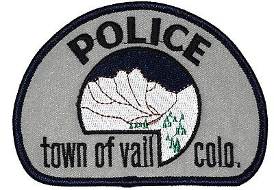 VAIL COLORADO CO Police Sheriff Patch MOUNTAINS SNOW EVERGREEN TREES ~