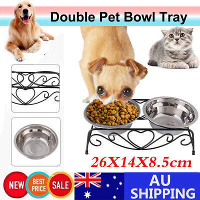 Stainless Steel Dual Elevated Raise Pet Dog Puppy Feeder Bowl Food Water Stand