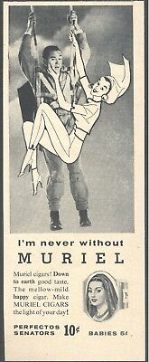 """""""I'm never without Muriel"""". 1956 Muriel Cigars Magazine Print Ad"""
