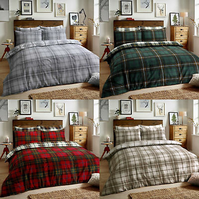 Brushed Cotton Duvet Cover Quilt Bedding Set Pillowcase Single Double King Size