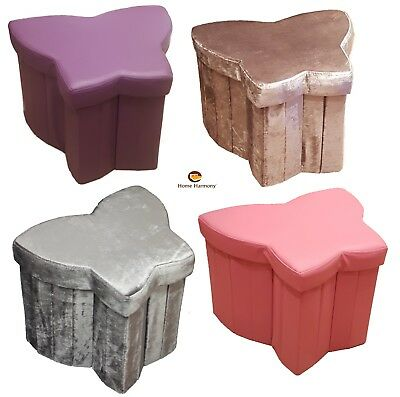 Butterfly Shaped Folding Storage Ottoman Seat, Stool, Toy Storage Box Chest