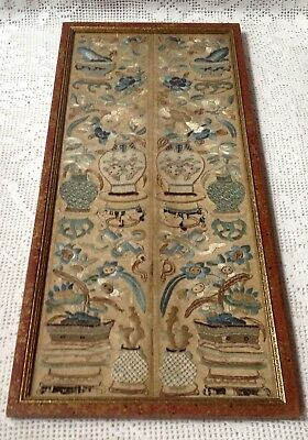 Antique, Pair Of Fine Chinese Silk Embroidered Cuffs, Framed. Late 18th Century