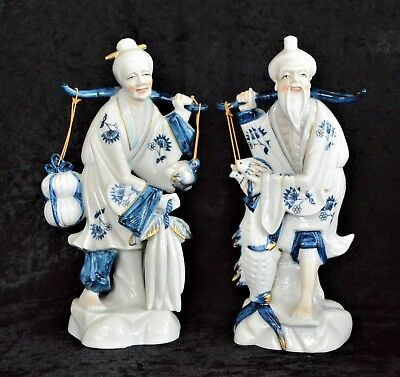 Vintage Chinese Porcelain Old Man & Woman Carrying Fish & Vegetables Blue White