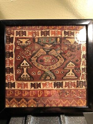 """Framed Precolumbian Chancay textile 1200AD 7"""" x 7"""" Mythical beings and fringe."""