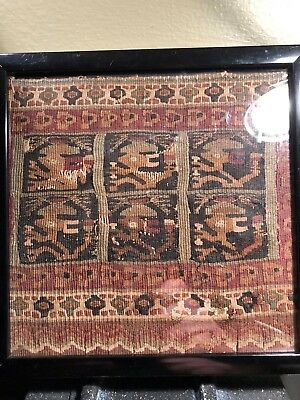 """Framed Precolumbian Chancay textile 1200AD 7"""" x 7"""" Mythical beings and fringe.#3"""