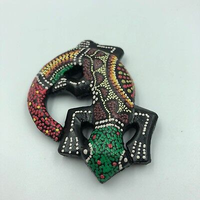 "3""Aboriginal Green Gecko Dot Painted Wooden Art Wall Magnet Decor Carving Lizard"